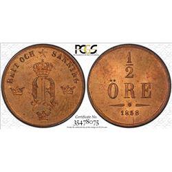 SWEDEN: Oscar I, 1844-1859, AE 1/2 ore, 1858/7, PCGS MS65 RB