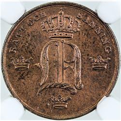 SWEDEN: Oscar I, 1844-1859, AE 1/6 skilling, 1847. NGC MS65