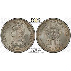 ANGOLA: 20 centavos (4 macutas), 1927, PCGS MS64