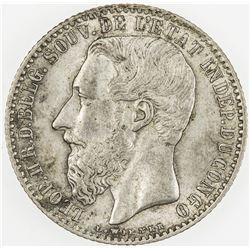 BELGIAN CONGO: Leopold II, 1865-1909, AR franc, 1887
