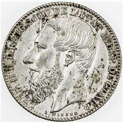 BELGIAN CONGO: Leopold II, 1865-1909, AR 2 francs, 1887