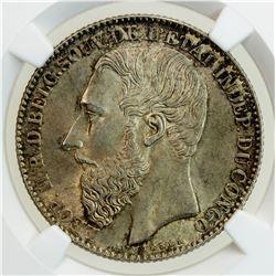 BELGIAN CONGO: Leopold II, 1865-1908, AR 2 francs, 1887. NGC MS64