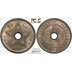 BELGIAN CONGO: Albert I, 1909-1934, 10 centimes, 1927. PCGS MS66