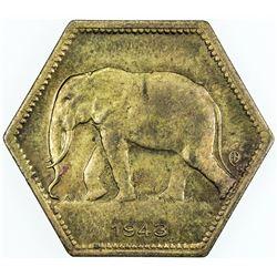 BELGIAN CONGO: Leopold III, 1934-1950, 2 francs, 1943. EF-AU