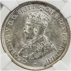 BRITISH WEST AFRICA: George V, 1910-1936, AR sixpence, 1919-H. NGC MS63
