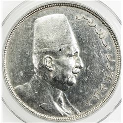 EGYPT: Fuad, as King, 1922-1936, AR 20 qirsh, 1923-H/AH1341. PCGS AU Details