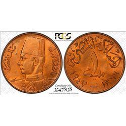 EGYPT: Farouk, 1936-1952, AE millieme, 1947/1366. PCGS MS64