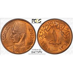 EGYPT: Farouk, 1936-1952, AE millieme, 1950/AH1369, PCGS MS64 RB