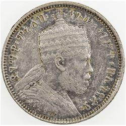 ETHIOPIA: Menelik II, 1889-1913, AR 1/4 birr, EE1895 (1902-3)-A. EF