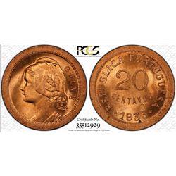 PORTUGUESE GUINEA: AE 20 centavos, 1933. PCGS MS65