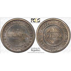 RWANDA: Republic, 1/2 franc, 1970, PCGS Specimen-67