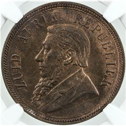 SOUTH AFRICA: AE penny, 1898. NGC MS64