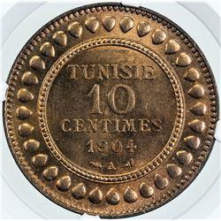 TUNISIA: Muhammad al-Hadi Bey, 1902-1906, AE 10 centimes, 1904//AH1322. NGC MS65