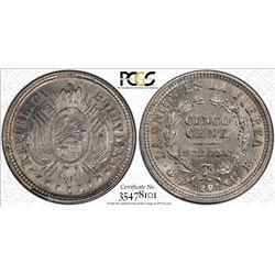 BOLIVIA: Republic, AR 5 centavos, 1891, PCGS MS63