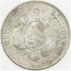 BOLIVIA: Republic, AR boliviano, 1874. AU