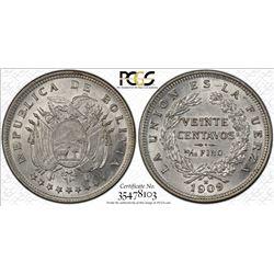 BOLIVIA: Republic, AR 20 centavos, 1909-H. PCGS MS62