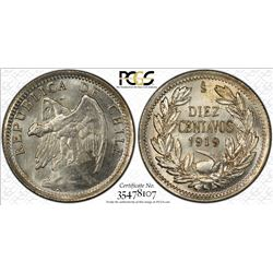 CHILE: Republic, 10 centavos, 1919-So. PCGS MS66