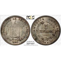 COSTA RICA: Republic, AR 5 centavos, 1890. PCGS MS63