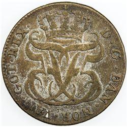 DANISH WEST INDIES: Frederik V, 1746-1766, BI 24 skilling, 1764. F-VF