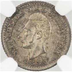 ECUADOR: silver 1/2 decimo, Lima, 1897, NGC graded MS-64