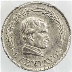 ECUADOR: CN 5 centavos, 1924-H. PCGS MS63