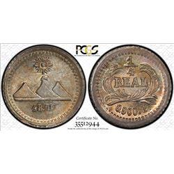 GUATEMALA: Republic, AR 1/4 real, 1875. PCGS MS66