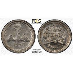 GUATEMALA: Republic, AR 1/4 real, 1875. PCGS MS63