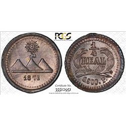 GUATEMALA: Republic, AR 1/4 real, 1876. PCGS MS66