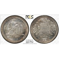 GUATEMALA: Republic, AR 1/4 real, 1880/770. PCGS MS65