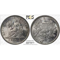 GUATEMALA: Republic, AR 2 reales, 1898. PCGS MS63