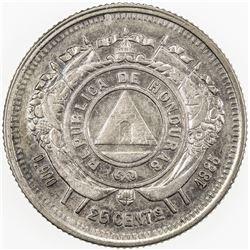 HONDURAS: AR 25 centavos, 1885. EF