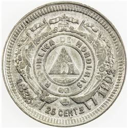 HONDURAS: AR 25 centavos, 1902/801. EF