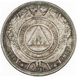 HONDURAS: AR 50 centavos, 1887/1885. VF