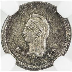 MEXICO: Republic, AR 1/4 real, 1843-Mo. NGC MS65