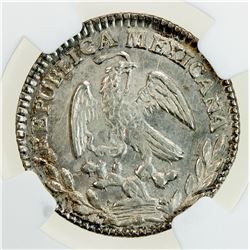 MEXICO: Republic, AR real, 1860-Zs. NGC MS63