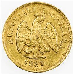 MEXICO: Republic, AV peso (1.7g), Culiacan, 1881/0-Cn. VF