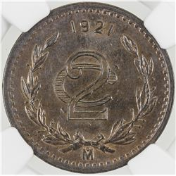 MEXICO: Republic, AE 2 centavos, 1921-Mo. NGC MS64