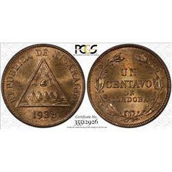 NICARAGUA: Republic, AE centavo, 1938. PCGS MS65