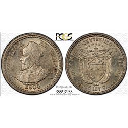 PANAMA: Republic, AR 2 1/2 centesimos, 1904. PCGS MS64