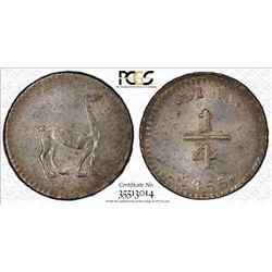 PERU: Republic, AR 1/4 real, Lima mint, 1855. PCGS MS64