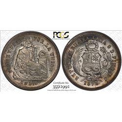 PERU: Republic, AR dinero, 1875. PCGS MS63