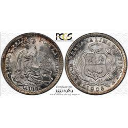 PERU: Republic, AR 1/2 dinero, 1903/897. PCGS MS66