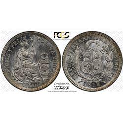 PERU: Republic, AR 1/2 dinero, 1913. PCGS MS66