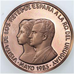 URUGUAY: AE 2000 nuevos pesos (69.00g), 1983. PF