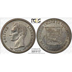 VENEZUELA: Republic, AR 1/4 bolivar, 1912. PCGS AU58