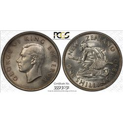 NEW ZEALAND: George VI, 1936-1952, AR shilling, 1940. PCGS MS64