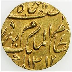 HYDERABAD: Mir Mahbub Ali Khan, 1869-1911, AV ashrafi (11.17g), Farkhanda Bunyad Hyderabad, AH1312 y
