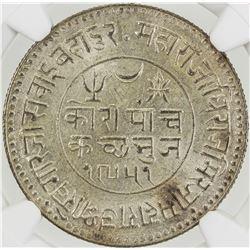 KUTCH: Khengarji III, 1875-1942, AR 5 kori, Bhuj, 1895/VS1951. NGC MS63
