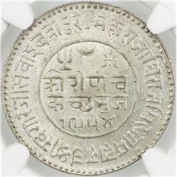 KUTCH: Khengarji III, 1875-1942, AR 5 kori, Bhuj, 1897/VS1954. NGC MS63