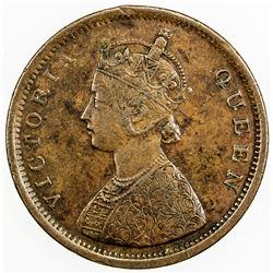BRITISH INDIA: Victoria, Queen, 1837-1876, AE 1/2 anna, 1862(c). VF-EF
